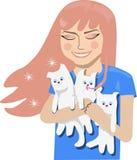 Fille heureuse étreignant des chatons illustration stock
