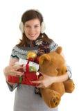 Fille heureuse avec des cadeaux de Noël Image libre de droits