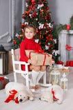 Fille heureuse avec deux golden retriever de chiots sur un fond d'arbre de Noël Photos stock