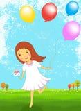 Fille heureuse avec l'illustration colorée de vecteur de ballon Image stock