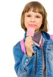 Fille heureuse avec la crême glacée de l'eau Photo libre de droits