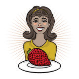 Fille heureuse avec un fruit exotique Images stock