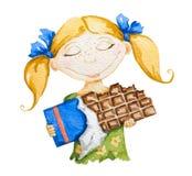 Fille heureuse avec un grand bar de chocolat illustration de vecteur