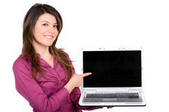 Fille heureuse avec un ordinateur portatif Image libre de droits