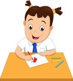 Fille heureuse d'école faisant un dessin sur un papier illustration stock