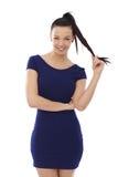 Fille heureuse dans la robe bleue images libres de droits
