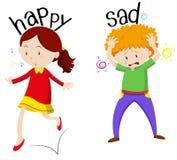 Fille heureuse et garçon triste Photographie stock libre de droits