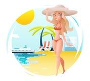 Fille heureuse mignonne sur le fond de mer d'océan de palmiers d'hôtel de voyage de symbole de voyage de Sunny Beach Planning Sum Illustration Stock