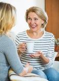 Fille heureuse partageant des bavardages avec la maman mûre tandis que thé-drinkin Images libres de droits