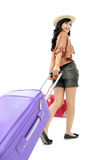 Fille heureuse partant en vacances Images stock