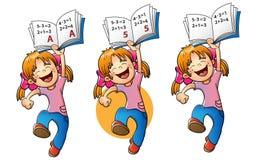 Fille heureuse sautant avec l'estimation la plus élevée illustration libre de droits