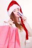 Fille heureuse sur des achats de Noël Photographie stock