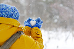 Fille heureuse voyageant en hiver avec un coeur glacial Image stock