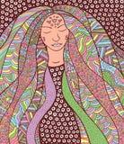 Fille hippie de chaman avec les cheveux fleuris Allégorie pour l'islandais Auro Photos libres de droits