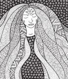 Fille hippie de chaman avec les cheveux fleuris Allégorie pour l'islandais Auro Photographie stock libre de droits