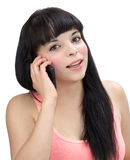 Fille hispanique au téléphone Photos stock