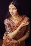 Fille indienne douce de beauté vraie dans le sourire de sari Images libres de droits