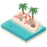 Fille isométrique et garçon détendant sur l'illustration de vecteur de plage illustration stock