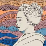 Fille japonaise dans l'habillement traditionnel Geisha Illustration de vecteur Images libres de droits