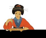 Fille japonaise traditionnelle mangeant des sushi illustration de vecteur