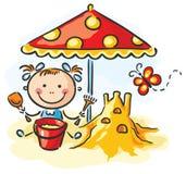 Fille jouant à la plage illustration stock
