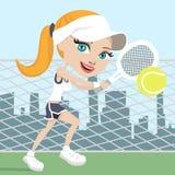 Fille jouant au tennis illustration de vecteur