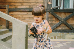 Fille jouant avec des chatons sur la terrasse Photographie stock libre de droits