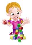 Fille jouant avec les blocs constitutifs illustration libre de droits