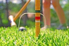 Fille jouant le jeu de croquet Image stock