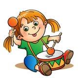 Fille joyeuse jouant le tambour d'isolement sur le blanc illustration libre de droits