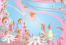 Fille joyeuse sous l'eau Illustration Stock