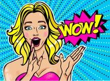 Fille la blonde étonnée par Illustration de vecteur dans l'étable d'art de bruit illustration de vecteur