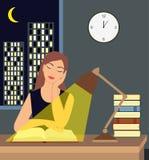 Fille lisant un livre sous une lampe de table sur la table Illustration de Vecteur