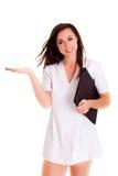 Fille médicale de soins de santé de Doktor d'isolement sur le fond blanc Photos libres de droits