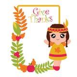 Fille, maïs, pomme, et cadre indiens de feuilles d'érable illustration libre de droits