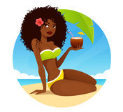 Fille magnifique d'Afro-américain dans le bikini Photographie stock