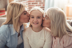 Fille, maman et mamie Photographie stock