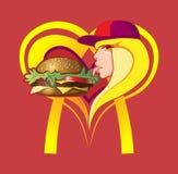 Fille mangeant l'hamburger énorme Photo stock