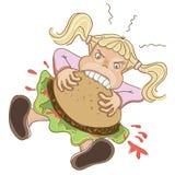 Fille mangeant l'hamburger Photographie stock libre de droits