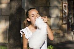 Fille mangeant la sucrerie de coton Photographie stock