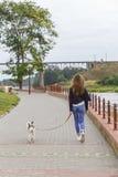 Fille marchant avec un animal familier Photos libres de droits