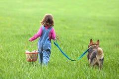 Fille marchant avec un chien Photographie stock