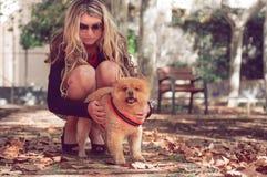 Fille marchant avec un chien dans la ville Pomerani espiègle et animé Images stock