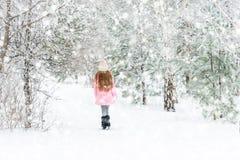 Fille marchant dans la forêt d'hiver, backview images stock
