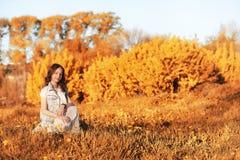 Fille marchant en parc d'automne Automne dans la ville, fille avec d Photo stock