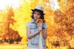 Fille marchant en parc d'automne Automne dans la ville, fille avec d Photographie stock libre de droits