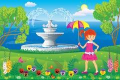 Fille marchant en parc près de la fontaine illustration de vecteur