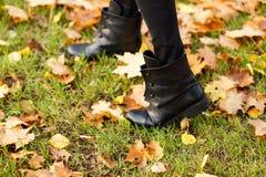Fille marchant sur l'herbe verte avec les feuilles d'automne jaunes Photo stock