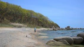 Fille marchant sur la plage clips vidéos