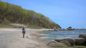 Fille marchant sur la plage banque de vidéos